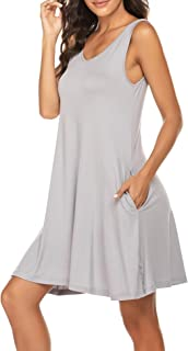 Ekouaer Women Sexy Loungewear Long Nightgown Sleeveless Maxi Nightshirt with Pocket Plus Size S-XXL