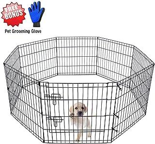 "ZuHucpts Foldable Metal Dog Exercise Pen/Pet Puppy Playpen with Door | Free Bonus Pet Grooming Glove (24"" H, Black)"