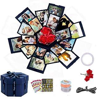 Inifus Explosion Box(Blue), 6 Faces DIY Handmade Explosion Gift Box, Love Memory Photo Album Scrapbooking Surprise Box for Birthday, Anniversary, Wedding, Valentine's Day