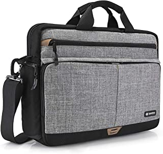 tomtoc Shoulder Bag, Messenger Bag for 15.6 Inch Laptop MacBook with Anti-Shock Laptop Compartment Multifunctional Briefcase Fits 15.6 Inch HP Dell Acer Lenovo Asus Samsung Notebook Tablet, Gray
