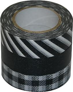 ナカバヤシ マスキングテープ d tape 印刷柄和紙3本パック DT15-3P-4 ブラウン3種