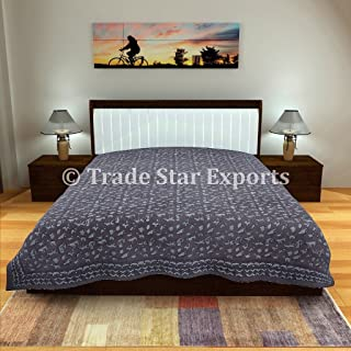 Trade Star Exports Indian Block Print Bedsheet, Decorative Bedding Queen Size, Ethnic Handmade Bed Sheets, Cotton Blanket Throw (Pattern 2)