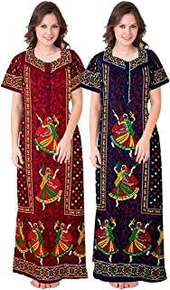 Mudrika Women's Cotton Nighty Pack of 2 Pieces (Multicolour, Free Size)