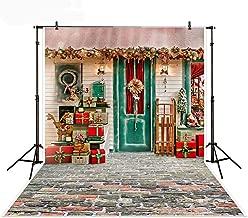 Mehofoto Christmas Shop Photography Backdrop Red Gift House Shop Brick Floor XMAS Photography Background 5x7ft Vinyl Children Celebrate Christmas Gift Shop Backdrops