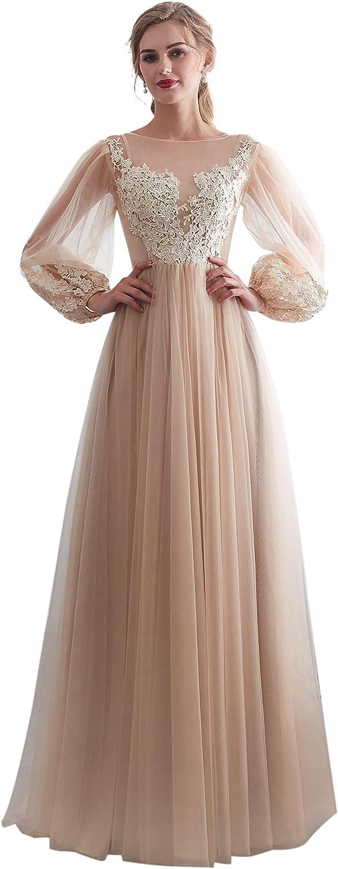 Maricopyjam Women's Puff Sleeve Long Prom Dress Lace Applique Tulle Wedding Dress