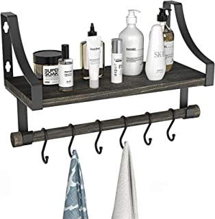Wall Mounted Bathroom Shelf with Towel Rack and 6 Hooks, Rustic Storage Floating Shlef for Coffee Bar, Kicthen Shelf, Bathroom and Living Roon by Amada