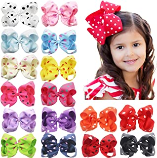 6 Inch Large Big Bows Boutique Grosgrain Ribbon Polka Dot Bow Alligator Hair Clips for Baby Girls Toddlers Kids Teens Pack of 16