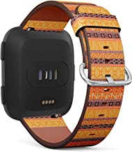 Compatible with Fitbit Versa/Versa 2 / Versa LITE/Leather Watch Wrist Band Strap Bracelet with Quick-Release Pins (African Style Bright)