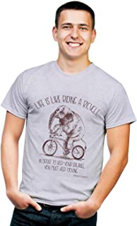 Retreez Inspirational Life is Like Riding a Bicycle Cyclist Printed T-Shirt Tee