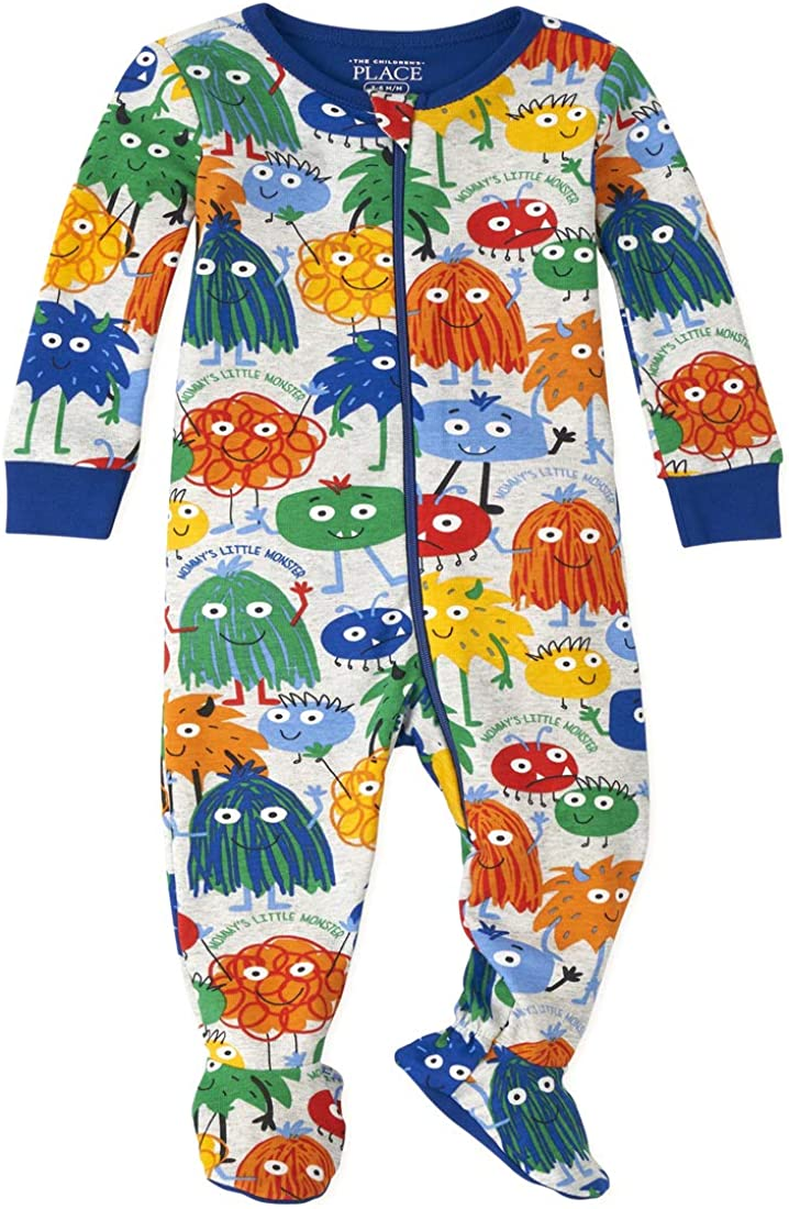 The Children's Place Boys' Baby and Toddler Monster Doodle Snug Fit Cotton Pajamas