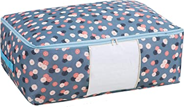 House of Quirk Handy Storage Bag Heavy Duty Travel Luggage Caddy Organizer Laundry Bags Duffel Space Saver with Web Handles for Quilt Beddings Blanket Blue Flower (Large Size