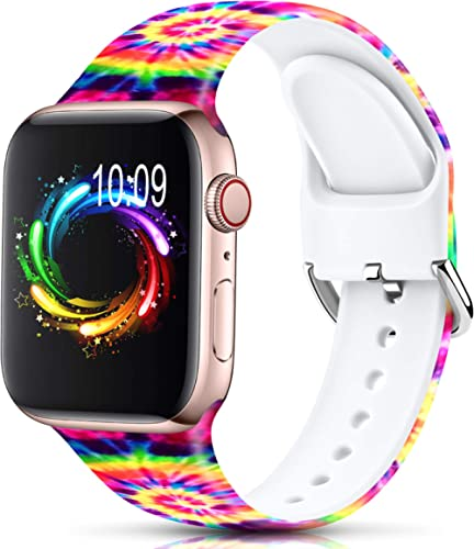 Sport Band Compatible with Apple Watch Bands 38mm 40mm 42mm 44mm for Women Men,Floral Silicone Printed Fadeless Patte...