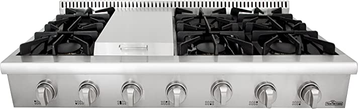 Thorkitchen HRT4806U Gas Rangetop with 6 Sealed Burners with Iron Grates, Metal Knobs with LED light, Stainless steel