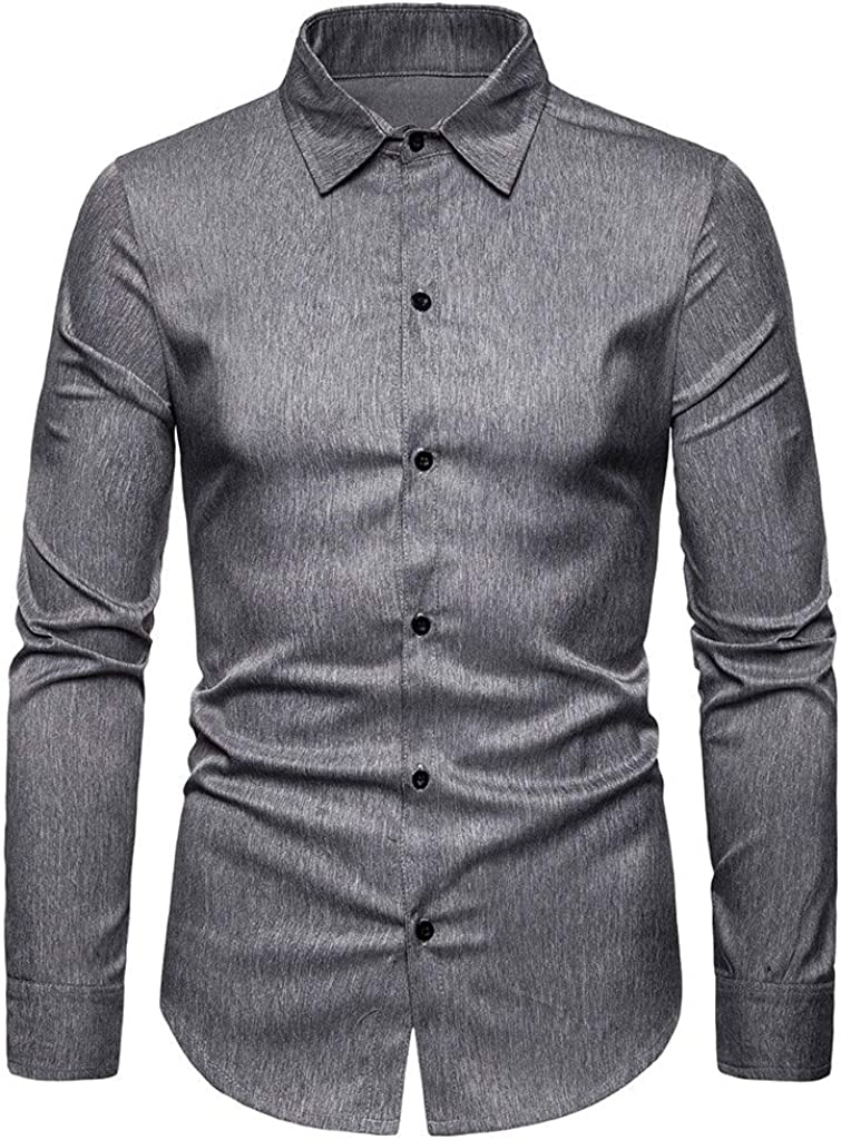 Men's Button Down Shirt Long Sleeve Big and Tall Casual Dress Shirt Tops