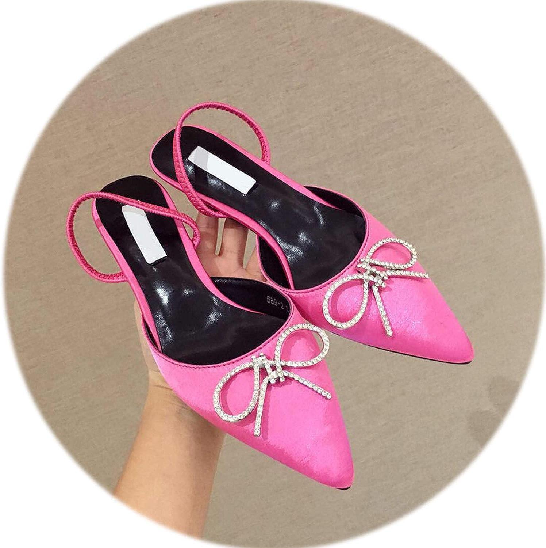 Gooding life High Heels Women Pumps Kitten Heel Bowtie Slingbacks Women Mules Elegant Silk Ladies shoes