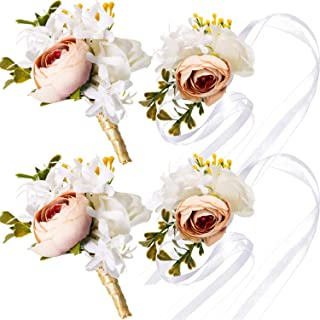Maitys Wrist Corsage and Boutonniere Set Buttonholes for Women and Men Corsage Wristband Roses Wedding Accessories for Groom Groomsman Brides Prom (4, White, Champagne)