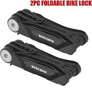 BIGLUFU Bike Lock Bicycle Scooter Motorcycle Folding Locks, Fold Chain Heavy Duty Alloy Steel Foldable Lock with Mounting Bracket and 2pc Non-Slip Velcro Straps
