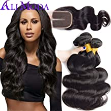 Ali Moda Brazilian 8A Body Wave 3 Bundles With 4X4 Middle Part Lace Closure 100% Unprocessed Human Virgin Hair Weave Extensions Natural Color (14 16 16 with 12)
