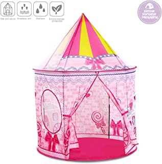 control future Princess Tent Toys - Girls Play Tents Castle, Pink Foldable Play House for 2 3 4 5 6 7 8 Years Old Toddler Girl Toys Tent Gifts for Game Indoor & Outdoor Camping (Large Size)