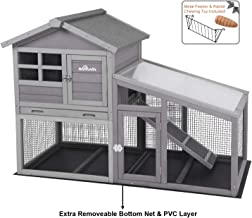 Aivituvin Rabbit Hutch Indoor and Outdoor,Chicken coop with Removable Bottom Wire Mesh & PVC Layer,Deeper No LeakageTray,Wooden Hen House with Nesting Box,UV Panel
