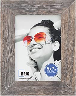 RPJC 5x7 inch Picture Frame Made of Solid Wood High Definition Glass for Table Top Display and Wall Mounting Photo Frame Driftwood Finish