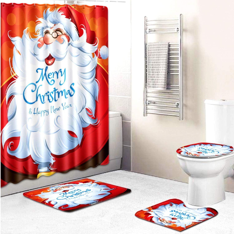 4 Piece Santa Christmas Print Shower Curtain Sets with Non-Slip