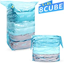 TAILI Cube Vacuum Storage Space Saver Bags 8 PCS (4 Jumbo 31 x 40 x 15 & 4 Large 31 x 22 x 12) 1 Cube Bags = 3 Regular Vacuum Bags Ideal for Home Clothes, Quilts, Pillows, Comforters, Blankets