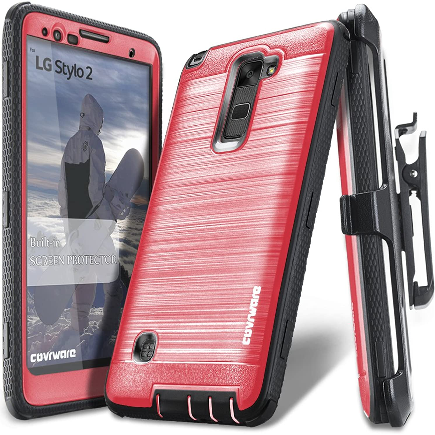 LG Stylo 2 /LG Stylo 2 Plus/LG Stylo 2 V, COVRWARE [Iron Tank] Built-in [Screen Protector] Heavy Duty Full-Body Rugged Holster Armor [Brushed Metal Texture] Case [Belt Clip][Kickstand], Red
