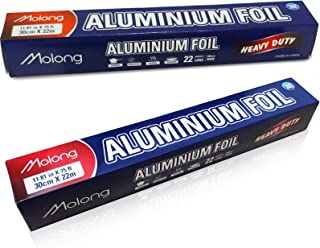 Aluminum foil roll 2 Pack 75 Feet Long Heavy Duty Food Foil Wrap for Grilling,Baking, Roasting, Catering with Nonstick Tra...
