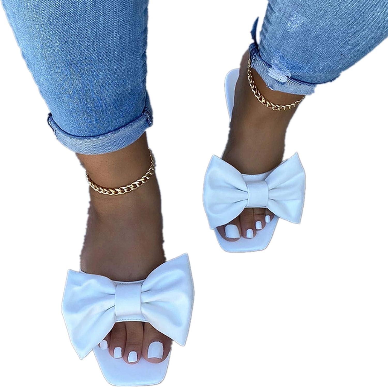 Eduavar Flat Sandals for Women, Womens 2021 Summer Bohemian Bowknot Flats Slippers Beach Travel Shoes Open Toe Sandals