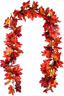 Lvydec 2 Pack Fall Maple Garland - 6.5ft/Piece Artificial Fall Foliage Garland Colorful Autumn Decor for Home Party Thanksgiving