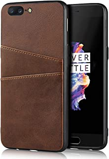 Cavor Compatible with Oneplus 5 Case Wallet Design Premium Leather Case with 2 Card Holder Slots for Oneplus 5 (Brown)