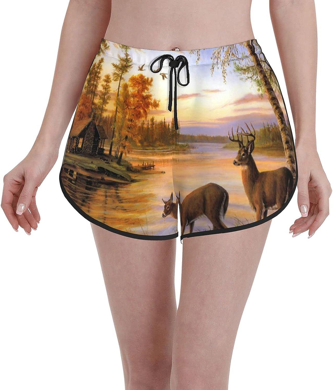 Women's Girl's Max 58% OFF Swim Trunks Elk Deer Theme Safair in High order Animals