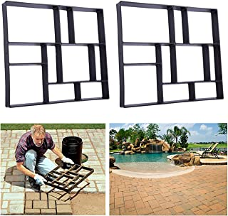 Rectangle DIY Pavement Mold Walk Maker Path Maker Brick Mold Concrete Form Pathmate Stepping Stone Molds for Concrete Mould Reusable for Garden, Court Yards, Patios and Walks, 23.6 x 19.7inches, 2Pack