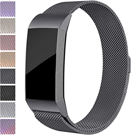 Maledan Replacement Bands for Fitbit Charge 3 & Charge 3 SE, Stainless Steel Mesh Milanese Loop Magnetic Band Replacement Accessories Bracelet Strap with Unique Magnet Lock for Women Men