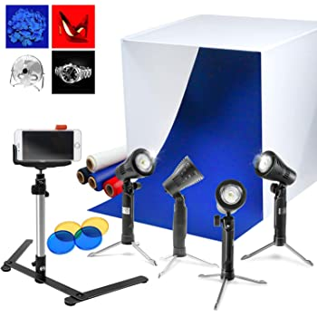 "LimoStudio AGG1071 24"" Cubic White Photo Video Studio Box Tent for Photo Studio (4 LED Table Top Lights with Stand Mini Camera Stand Cellphone Clip Backgrounds Color Gel Filters)"