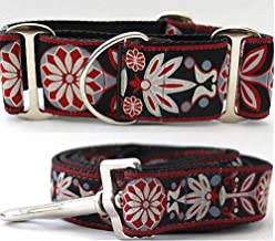 """product image for Diva-Dog 'Mandala Star Carnelian Red' 2"""" Extra Wide Chainless Martingale Dog Collar, Matching Leash Available - MD, LG, XL"""