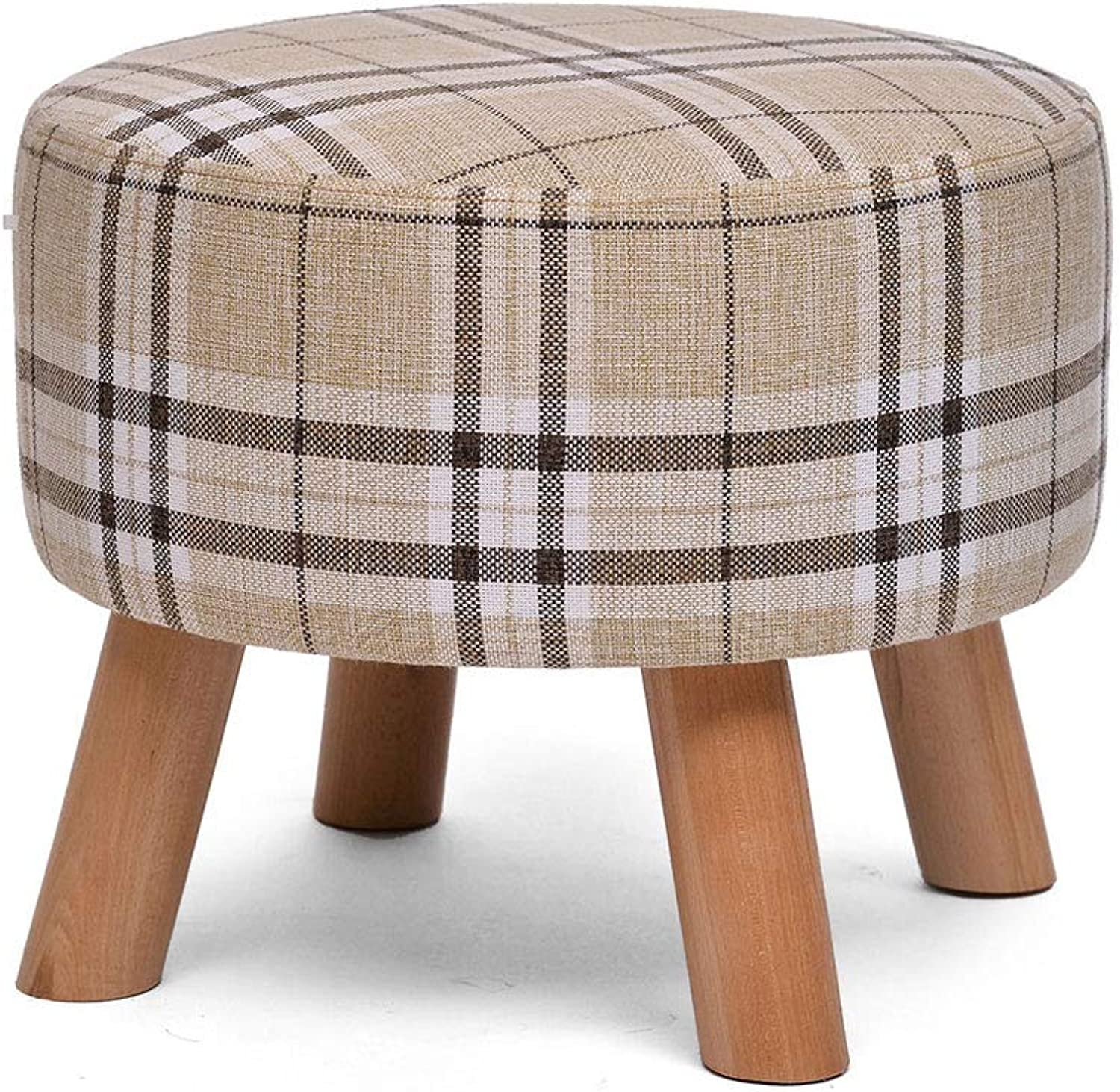 Wooden Stool, Four-Leg Sponge Soft Cushion Creative Cloth Washable Change shoes Round Stool (color   Stripe)