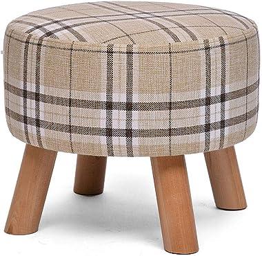 Wooden Stool, Four-Leg Sponge Soft Cushion Creative Cloth Washable Change Shoe Round Stool (Color : Stripe)