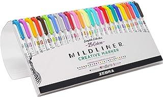 Zebra Pen Mildliner Double Ended Highlighter Set, Broad and Fine Point Tips, Assorted Ink Colors, 25-Pack (78525)