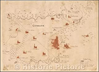 Historic Map - Guernsey, 1560, Reyner Wolfe - Vintage Wall Art 44in x 32in
