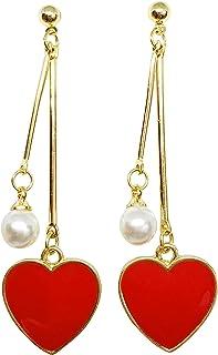 Red Heart Dangle Drop Gold Earrings - Sweetheart Birthday Anniversary Gift Present
