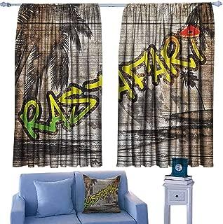 Mannwarehouse Rasta Simple Curtain Jamaican Reggae Music Icon Inspired Rastafari Street Graffiti Image Suitable for Bedroom Living Room Study, etc.72 Wx45 L Brown Pale Green and Yellow