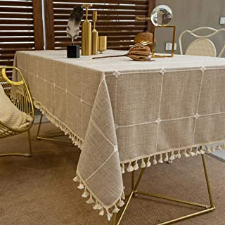 TEWENE Tablecloth, Rectangle Table Cloth Cotton Linen Wrinkle Free Anti-Fading Embroidery Checkered Tablecloths Washable Table Cover for Dining (Rectangle/Oblong, 55''x70'',4-6 Seats, Light Brown)