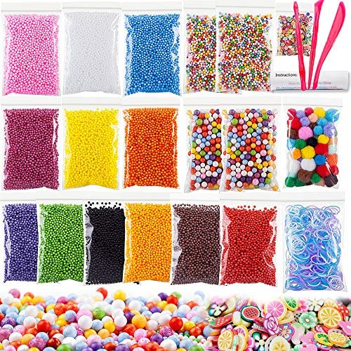Foam Beads for DIY Craft, Slime Beads 19 Packs Approx 61,100 PCS, Styrofoam with Pom Poms Balls, Loom Bands and Fruits Pieces for Soft Toys Clay, Homemade Crunchy Slime and DIY Nail Art