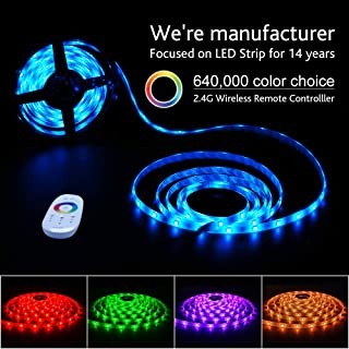 RGB LED Light Strip Kit, Flexible Color Changing 6m IP65 5050 RGB Light Strip with RF Touch Remote Controller for Accent Lignting, Mood Lighting, Party and Home Decoration