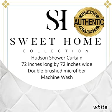 "Sweet Home Collection Fabric Shower Curtain 70"" x 72"" with Unique Pinch Pleat Design, White"
