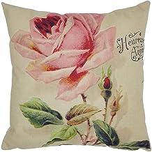 Vintage Flower Print Pattern Cotton Linen Square Throw Pillow Case Decorative Cushion Cover Pillowcase Cushion Case for So...