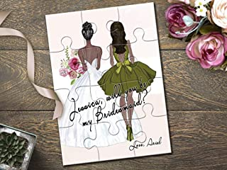 Personalized African American Maid of Honor Proposal Puzzle, African American Bride and Bridesmaid Illustration Proposal Gift