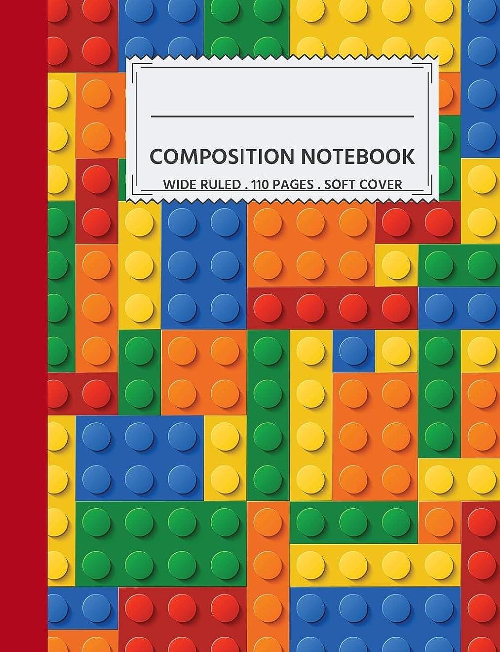 オークション立ち寄る有名人Wide Ruled Composition Notebook: Cool LEGO Pattern-110 Pages Lined Writing Composition Book for School Back to School and Homeschooling Journal For Boys
